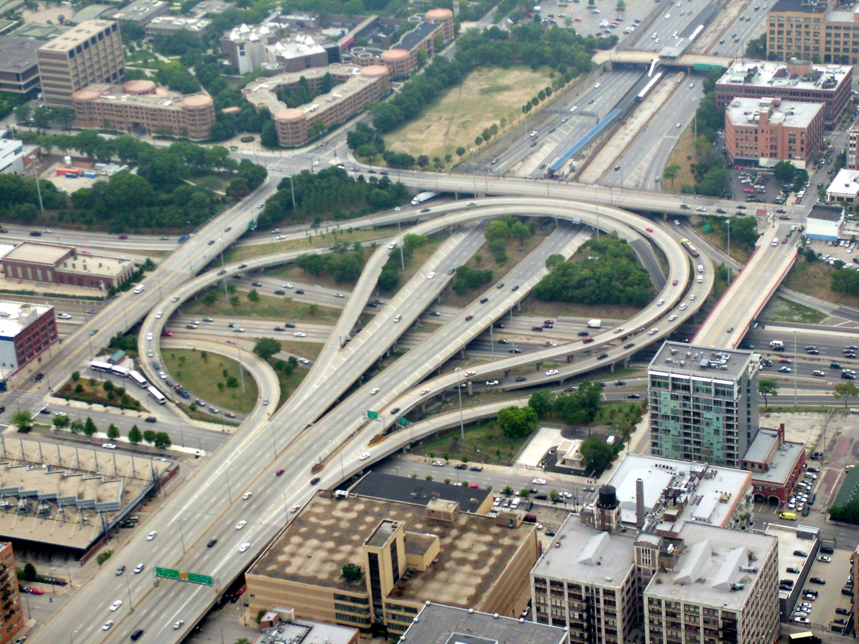 Overhead photo of the Circle Interchange in Chicago.