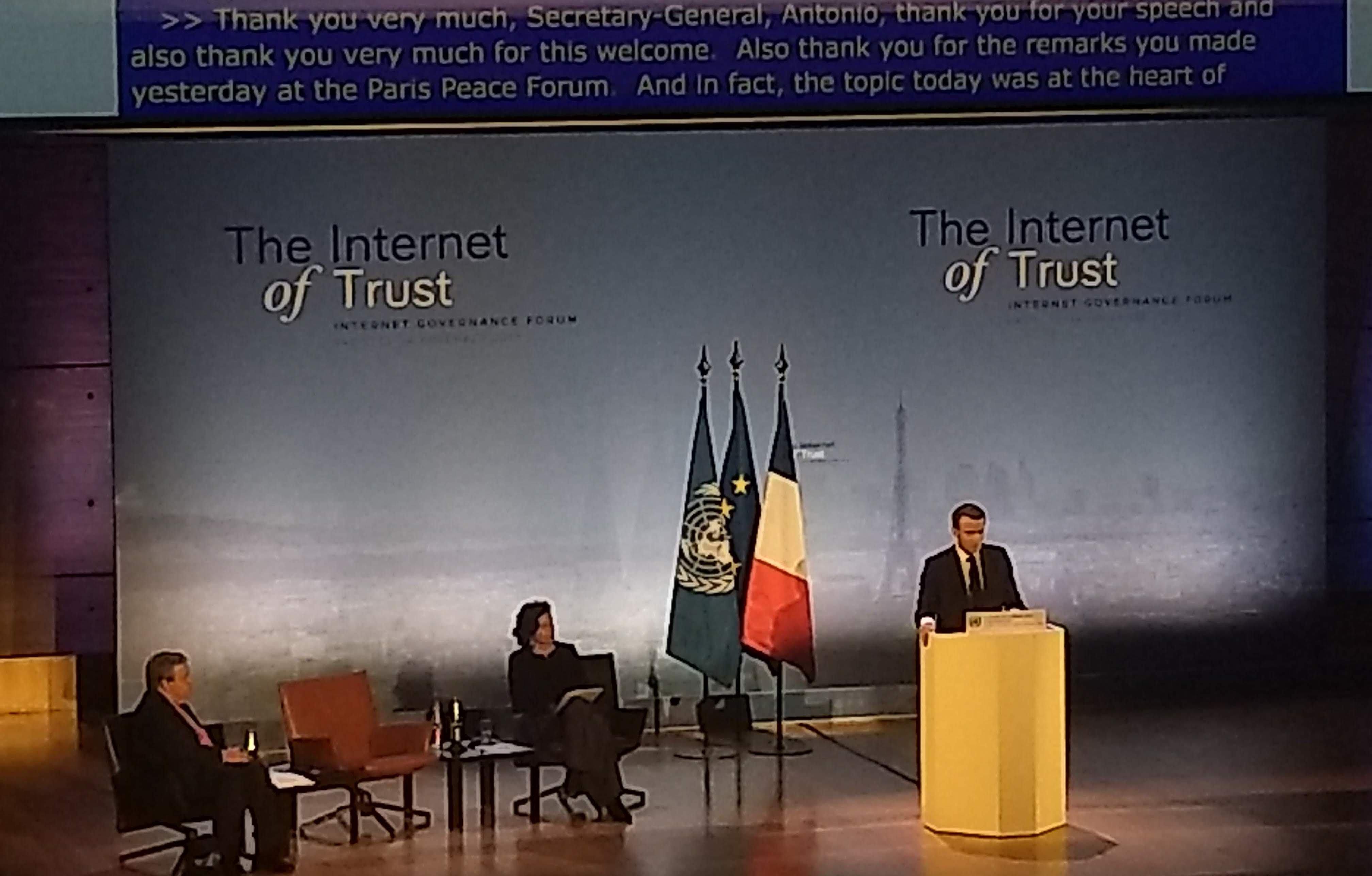 President of France Emmanuel Macron addresses IGF 2018
